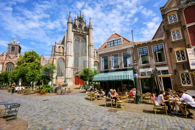 Historical Old town and Hooglandse Kerk church in Leiden, Netherlands Stock Photo
