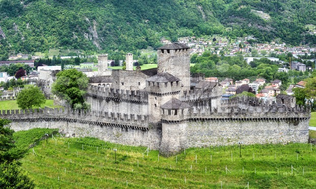 Medieval Montebello and Castelgrande castles in Bellinzona, Switzerland Stock Photo