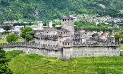 Medieval Montebello and Castelgrande castles in Bellinzona, Switzerland Stock Photo