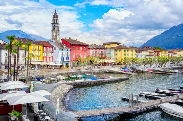 Ascona village on lake Lago Maggiore , Locarno, Switzerland Stock Photo