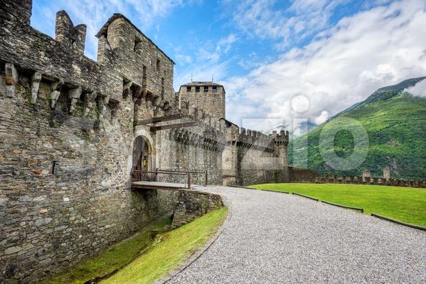 Medieval Montebello castle in Bellinzona city, Switzerland Stock Photo