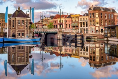 Galgewater canal in Leiden Old town, Holland, Netherlands Stock Photo
