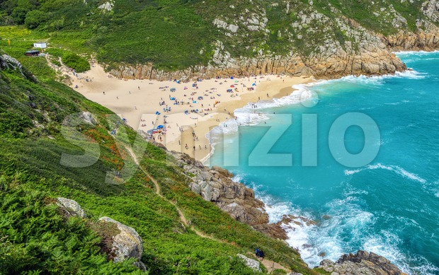 Porthcurno Beach, Cornwall, England, United Kingdom Stock Photo