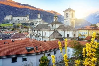 Bellinzona city in swiss Alps mountains, Switzerland Stock Photo
