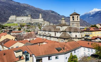 Historical Old town of Bellinzona, Switzerland Stock Photo