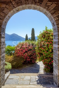 Mediterranean garden on lake Lago Maggiore, Italy Stock Photo