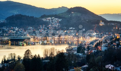 Lucerne city, Switzerland, on sunset Stock Photo