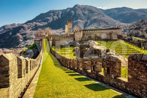 Walls and towers of Castelgrande castle, Bellinzona, Switzerland Stock Photo