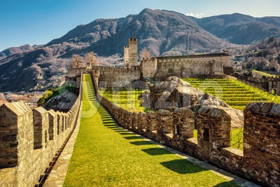 Walls and towers of Castelgrande castle, Bellinzona, Switzerland Stock Photo