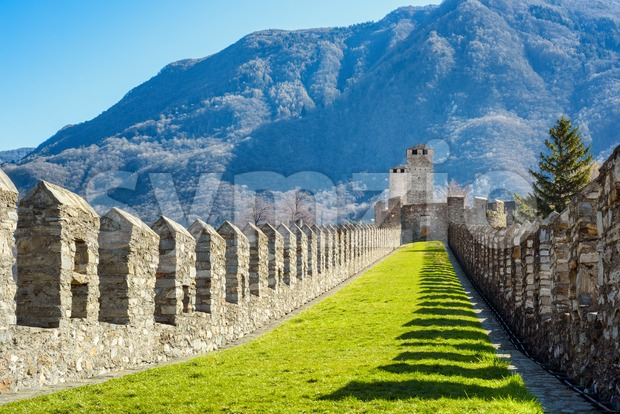 Ramparts of medieval Castelgrande castle in Bellinzona city, Alps mountain, Switzerland