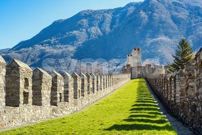 Ramparts of Castelgrande castle in Bellinzona, Switzerland Stock Photo