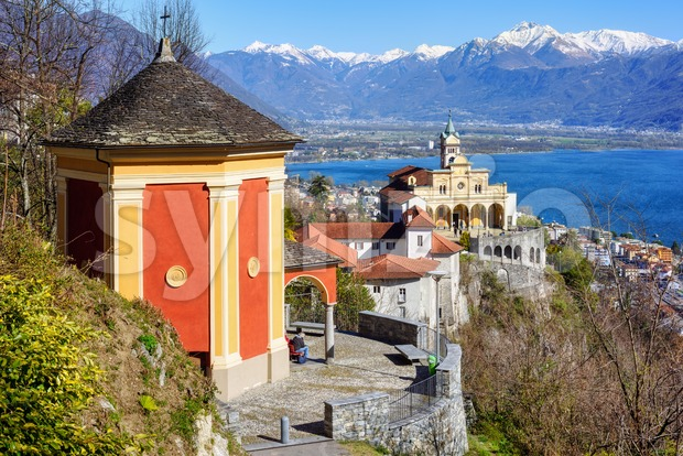 The Sacred Mount Madonna del Sasso (Our Lady of the Rock) on Lago Maggiore lake in Orselina, Locarno is the ...