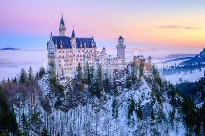Neuschwanstein castle on a winter day morning, Germany Stock Photo