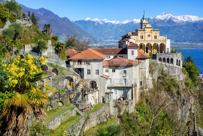 Sacred Mount Madonna del Sasso, Locarno, Switzerland Stock Photo