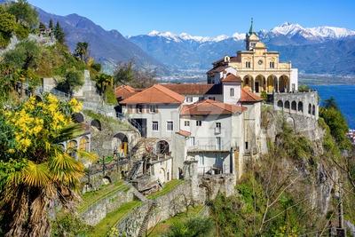 Sacred Mount Madonna del Sasso, Locarno, Switzerland Stock Photo