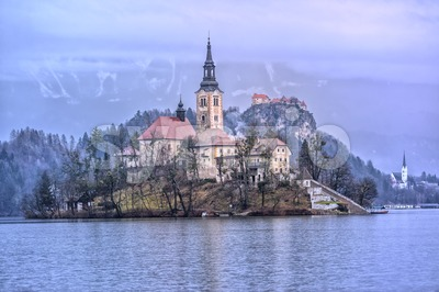 Virgin Mary church on the lake island in Bled, Slovenia Stock Photo