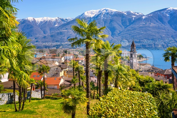 Palm trees and snow peaks of the Alps mountains in Ascona town on lake Lago Maggiore, Locarno, Switzerland