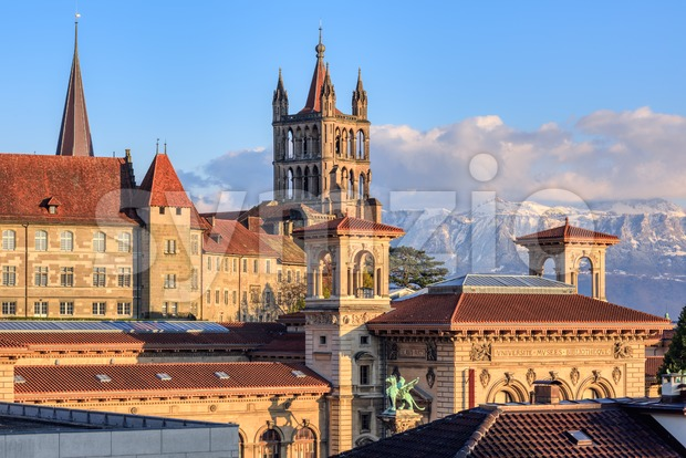 Lausanne city and the snow covered Alps mountains, Switzerland Stock Photo