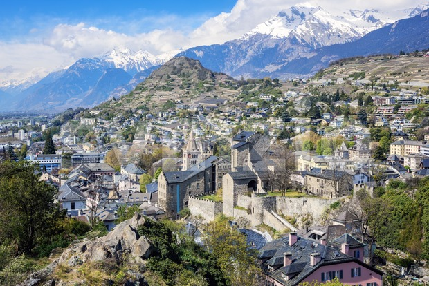 Sion town in in the Alps mountains valley, Switzerland Stock Photo