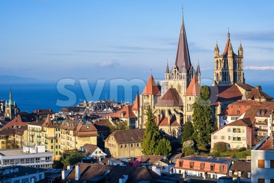 Lausanne city on Lake Geneva, Switzerland Stock Photo