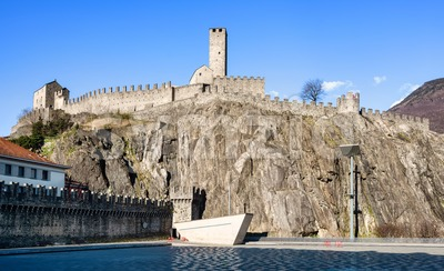 Castelgrande castle in Bellinzona Old town, Switzerland Stock Photo