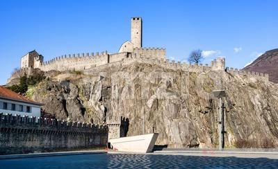 Castelgrande castle in Bellinzona Old town, Switzerland Stock Photo