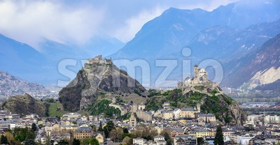 Panoramic view of Sion town in the swiss Alps valley, Switzerland Stock Photo
